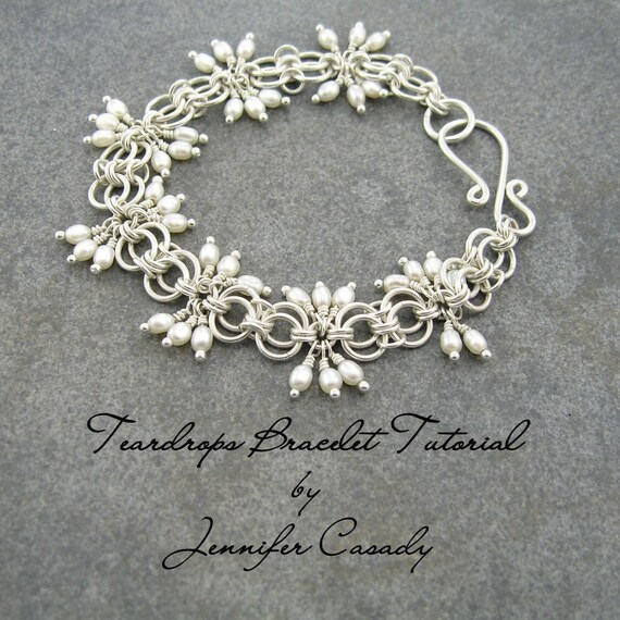TUTORIAL -- Teardrops Gemstone and Chainmail Bracelet Tutorial -- A Jennifer Casady Signature Design
