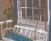 ACEO original Front Porch Swing painting on wood veneer by Susan Thau
