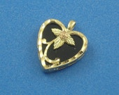 Tri-Color Green Rose Yellow Gold Onyx Floral Heart Pendant