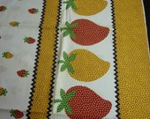 RESERVED FOR RETROA Bright Strawberry Border Print Fabric 38 x 2 Yards