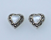 Sterling Silver Marcasite Mother of Pearl Heart Charms or Petite Pendants