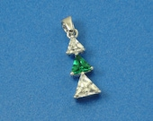 Sterling Silver and Green White CZ Stacked Triple Triangle Pendant Past Present Future