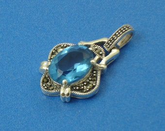 Marcasite Sterling Silver and Blue CZ Pendant