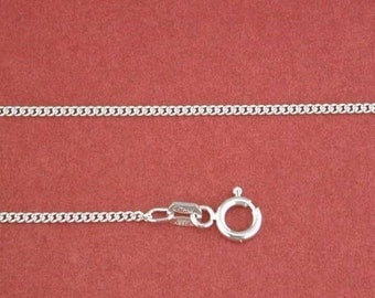 19.5 inch Sterling Silver Cuban Mini-Curb Pendant Chain Jewelry Supply