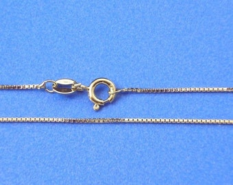 18 inch Yellow Gold Vermeil 0.9mm Box Necklace Chain Jewelry Supply