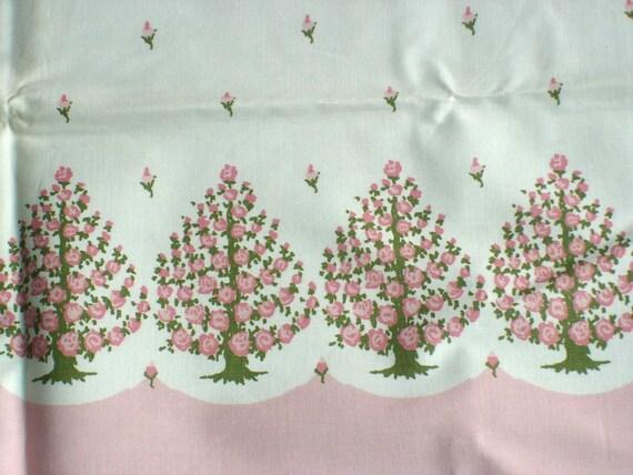 Pink Trees Border Print Fabric 36 x 2 Yards