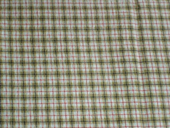 Brown Plaid Lightweight Cotton Fabric 2 Pieces 45 x 62
