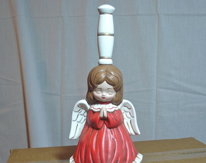 "Praying Angel Collectible Ceramic 9"" Bell Red and White"