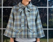 Lovelina Vintage Wool Cape Jacket - Blue Plaid