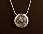Sterling Silver Wolf pendant made from antique vintage button
