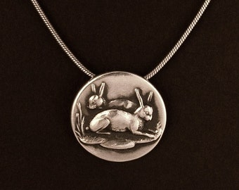 Sterling Silver Two Bunnies Rabbit pendant made from antique vintage button