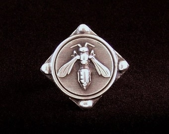Sterling Silver Wasp ring made from antique vintage button