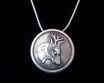 Sterling Silver Deer pendant made from antique vintage button