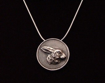 Sterling Silver Bunny Rabbit pendant made from antique vintage button