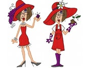 JJ's Red Hat Parade 4x4 Machine Embroidery Designs