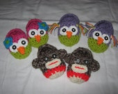 Adorable Hand Crochet Owl Or Sock Monkey Slippers For Baby Sizes 0-3, 3-6, 6-9 Or 9-12 Months Made To Order