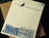Free Shipping Sale - Books and Bird - Gocco Screen-Printed Card