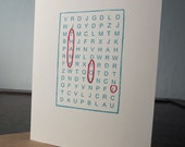 Single Word Search Thank You Card - Gocco Screen-Printed