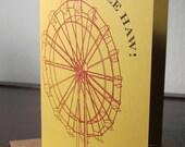 Yee Haw Ferris Wheel - Gocco Screen-Printed Card