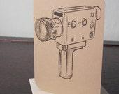Super 8 Movie Camera - Gocco Screen-Printed Art Card