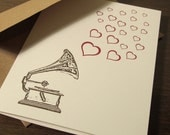 Record Player and Hearts - Letterpress Card