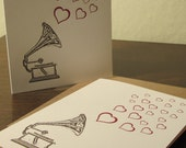Record Player and Hearts Cards - Letterpress Printed Card 50-Pack