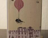 Flying Shoes - Gocco Printed Hot Air Balloon Art Card