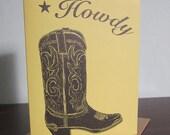 Howdy Cowboy Boot - Gocco Screen-Printed Western Art Card