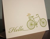 Hello Bike and Flowers - Letterpress Printed Card