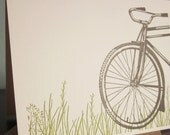 Bike In Grass - 50-Pack Letterpress Printed Greeting Cards