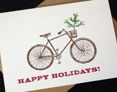 Happy Holidays Gocco Bike Card