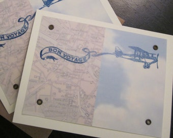 Bon Voyage - 12-Pack Gocco Screen-Printed Vellum Cards
