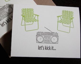 Let's Kick It - Letterpress Printed 24-Pack Art Cards