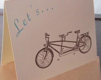 Let's Tandem Bike- Gocco Screen-Printed Invitation Card