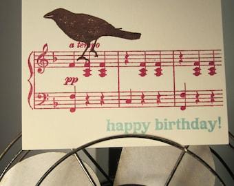 Bird On Music - Gocco Screen-Printed Birthday Card