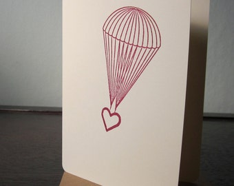 Parachute Heart - Gocco Screen-Printed Card