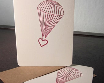 Parachute Heart - 12 Pack Gocco Screen-Printed Cards
