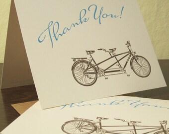 Tandem Bike Thank You Cards - 12-Pack Letterpress Cards