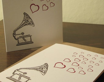 Record Player and Hearts Cards - Letterpress Printed Card 12-Pack