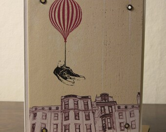 Flying Shoes - Gocco Printed Hot Air Balloon Art Card