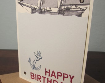 Ship and Anchor Birthday Card - Gocco Screen-Printed Card
