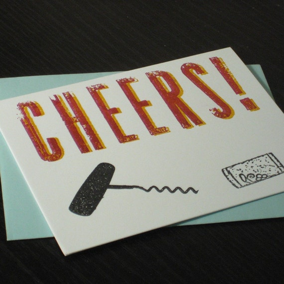 Cheers - Gocco Screen-Printed Wine Cork Art Card