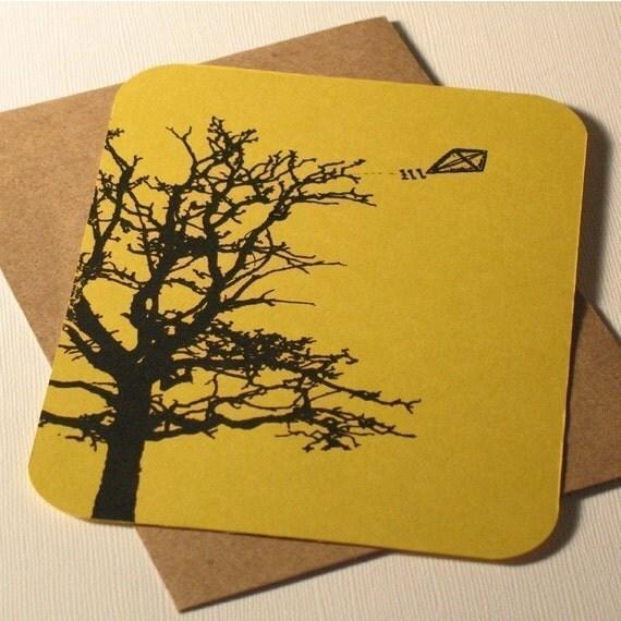 Kite and Tree - Gocco Screen-Printed Art Card