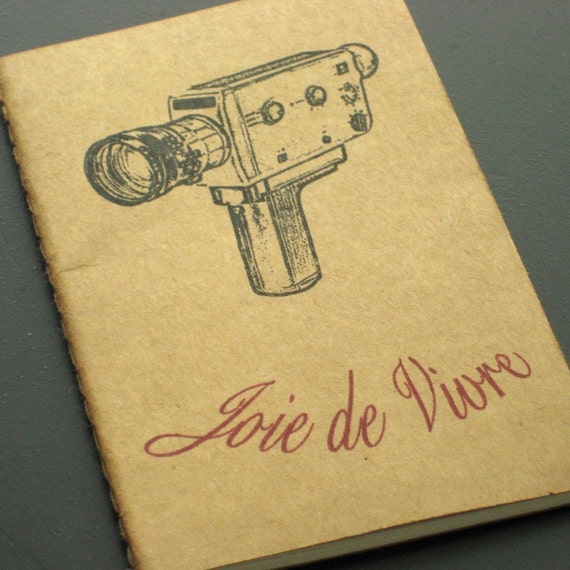 FREE SHIPPING SALE - Joie de Vivre - Gocco Screen-Printed Lined Notebook