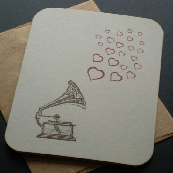 Record Player and Hearts - Gocco Screen-Printed Card