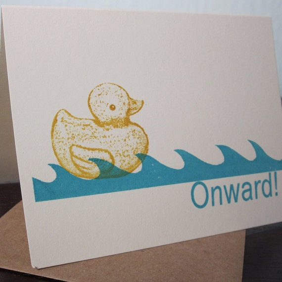 Onward Rubber Ducky and Waves - Gocco Screen-Printed Art Card