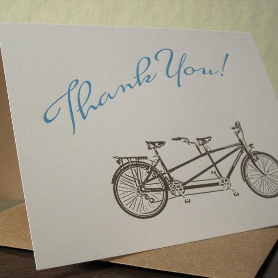 Tandem Bike Thank You - Letterpress Card