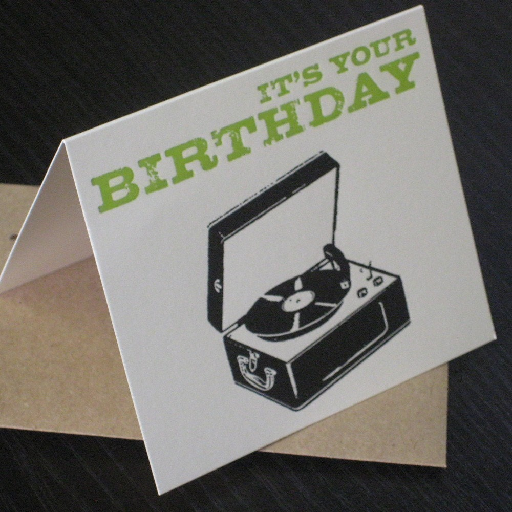 Happy Birthday Record Player Letterpress Greeting By