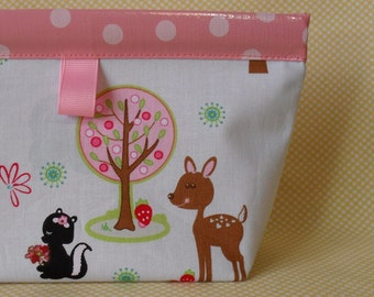 Sweet Woodland Friends Oilcloth Snappy Pouch