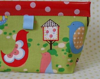 Birdhouse Oilcloth Snappy Pouch